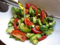 Avocado & Tomato Salad Recipe Salads with avocado, heirloom tomatoes, extra-virgin olive oil, sea salt, red wine vinegar