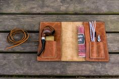 Handmade Minimalist Leather Pipe Pouch Good quality rustic brown aged leather. Hand stitched with waxed polyamide thread.The edges are beveled, waxed and burn