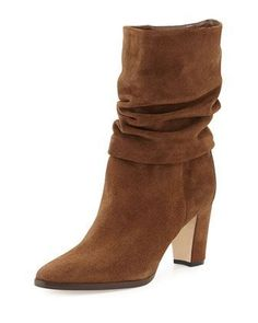 Knight Ruched Suede Boot by Manolo Blahnik at Bergdorf Goodman.