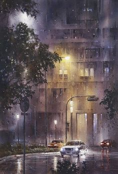 Watercolor of a rainy night by Lin Ching-Che Watercolor City, Watercolor Artists, Watercolor Landscape, Watercolor Paintings, Watercolors, City Rain, I Love Rain, Rain Art, Urban Landscape