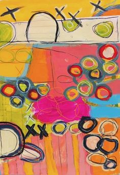 "Hugs and Kisses 1 - 20.5 x 29.5"" : Studio/Gallery Inventory : Susan Finsen - Abstract Drawing and Painting"