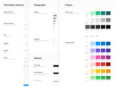 Design system designed by Anna Venesz. Ui Ux Design, Branding Design, Graphic Design, Design System, Style Tile, Show And Tell, Style Guides, Color Schemes, Tiles
