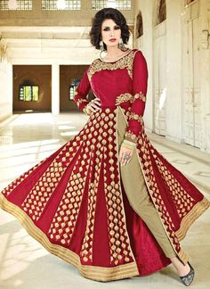 Choose from a wide range of designer anarkali suits. Customization and free shipping worldwide. Buy this faux georgette designer suit for festival and wedding.