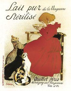 18x24 Vintage French Advertisements. Lait Pur Sterilise by Steinlen . Art Nouveau - 053. $30.00, via Etsy.