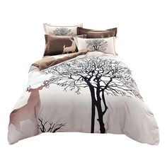 Wholesale Papa&Mima Fresh Style Trees Deer Bedlinens High Quality... ($68) ❤ liked on Polyvore featuring home, bed & bath, bedding, duvet covers, cotton bed set, white bedding sets, queen bed sets, deer bed sets and white queen bedding
