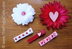 Valentine's Day Hair Clips. How to make these easy hair clips for your special little girl or make lots of them for all her friends and her. Have a slumber party. Kids love crafts. The blonde in the pic.