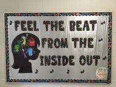 """Inside Out"" Music Classroom Bulletin Board Music Crafts, Music Decor, Music Classroom, Classroom Themes, Disney Classroom, Future Classroom, Toddler Classroom, Class Bulletin Boards, Elementary Music"