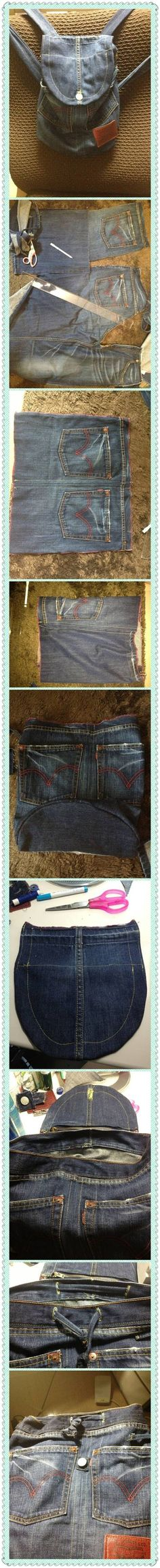 DIY Old Denim Backpack - no instructions, jest photos it seems - but helpful nonetheless