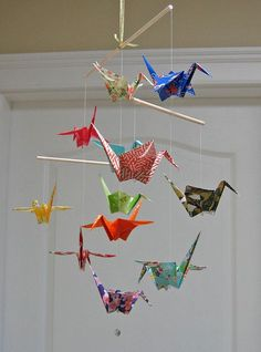 Origami Crane Mobile - Assorted Washi Print Papers - Home Decor on Etsy, $32.15 AUD - I'd like to make it with old maps?