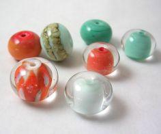 Organic Handmade Glass Lampwork Beads  Palm Beach by mermaidglass, $19.00