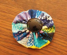 Hair clip: fabric and button - sparkly button by MagpieSailor, $6.50