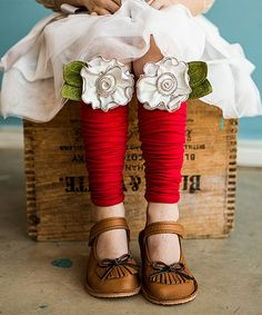 Red & White Peppermint Rose Leg Warmers by Snugars #zulily #zulilyfinds
