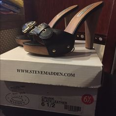 Steve Madden Platform Heels Black wooden platform high heels. They have never been worn out the street but have been modeled and Walked on only indoors. I'm actually sad to list these, I love them. Steve Madden Shoes Heels