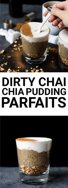 Dirty Chai Chia Pudding Parfaits: These chia pudding parfaits are beautiful, delicious, and filling! Naturally gluten free and vegan, you'll love the flavors of coffee and chai in this recipe!    fooduzzi.com recipe