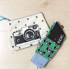 Perfect match for a photographer - camera illustration bag and socks - boys teens gift idea