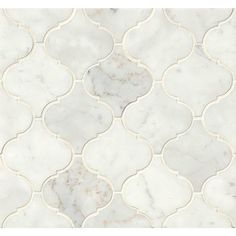 White Carrara Honed Floor and Wall Arabesque Mosaic, Sold by the Piece