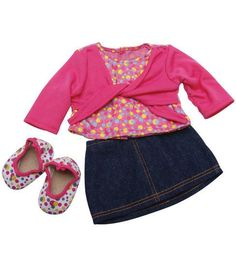 Springfield Collection Blue Denim Skirt, Top & Shoes