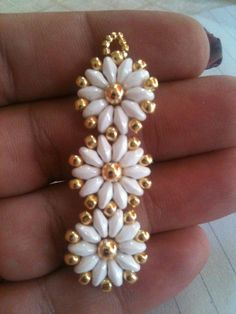Twin bead daisy earrings