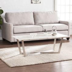Harper Blvd Walham Faux Marble Cocktail Table - Soft Ivory w/ Gray (OS0572KC), Silver