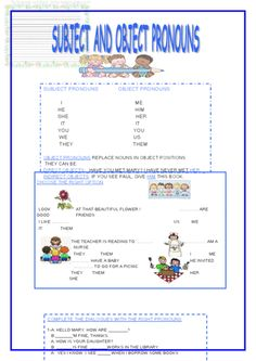 Subject and Object Pronouns | Pronoun worksheets, Grammar practice ...