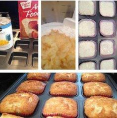 Brownie Pan - Pineapple Angel Loaves - Weight Watchers 1 point!     1 angel food cake mix 1 lg can crushed pineapple Line Brownie Pan with cupcake liners (regular cupcake liners will go square when filled). Mix ingredients thoroughly in Classic Batter Bowl with Mix and Masher. Fill each well using the Large Scoop and bake at 350 for 15 minutes.   Note: This makes 24 cupcakes but you need to do both pans at the same time. If the batter sits too long it goes flat and icky.
