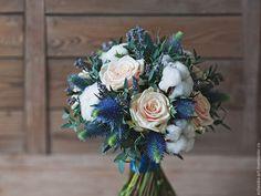 Свадебные цветы ручной работы. Ярмарка Мастеров - ручная работа. Купить Букет невесты / Кремово-голубой свадебный букет. Handmade.