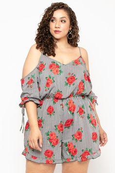 Plus Size Floral Stripe Cold Shoulder Romper - Black – Curvy Sense Trendy Plus Size Clothing, Plus Size Fashion For Women, Black Women Fashion, Curvy Fashion, Elegant Clothing, Womens Fashion, Plus Size Romper, Plus Size Jeans, Plus Size Dresses