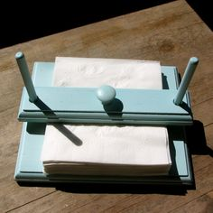Up-cycle Wooden Napkin Holder With Bar for keeping Napkins Tidy Outdoors