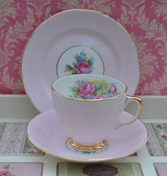 Roya Sheraton Vintage English China Trio- Tea Cup, Saucer, Tea Plate, Candy Pink and Gilt with Floral Bouquet Design, Excellent Condition by ImagineHowCharming on Etsy