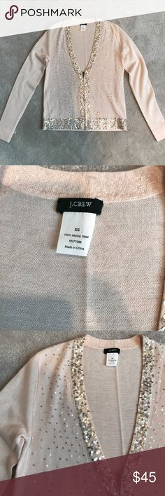 J.Crew embellished merino pink cardigan top XS NWOT. Delicate, featherweight pale peachy pink J. Crew Sweaters Cardigans