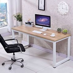 Computer Desk PC Laptop Table Wood Workstation Study Home Office Furniture (White)