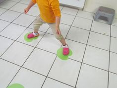Leap frog. kids call out Letter, number, or shape on lily pad then Leap to the next lily pad.
