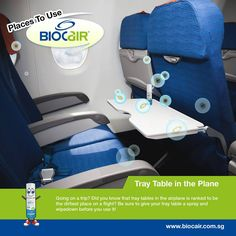 You'd never have guessed this, but the place with the most germs in the aircraft cabin is - surprise - the tray table! With 2,155 CFU/sq inch*, it is an area frequented by bacteria more than the lavatory flush button (265 CFU/sq inch*). Use BioCair Pocket Spray to sanitise this (or other bacteria-sticky surfaces) before you tuck into your meals!