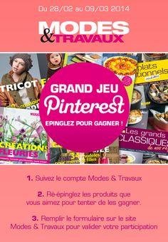 Jeu concours Pinterest : http://www.modesettravaux.fr/concours-pinterest-fevrier-mars-2014
