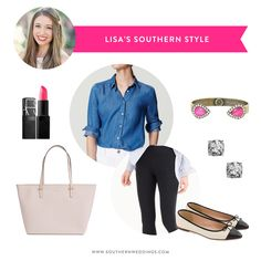 A stylish summer-to-fall transitional look for Lisa http://southernweddings.com/2016/08/25/southern-style-styling-chambray-shirt/
