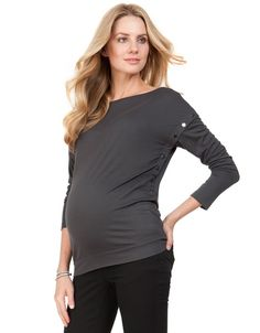 High-shine poppers at the sides for nursing Wide boat neckline and made in the very softest draped jersey.