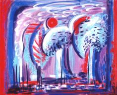 Eva Bednay: Nuclear trees; oil pastel