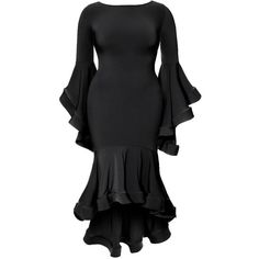 Plus Size High Low Midi With Bell Sleeves and Fluted Skirt, Black ($68) ❤ liked on Polyvore featuring skirts, mid-calf skirts, frill skirt, plus size hi low skirt, plus size skirts and ruffle midi skirt