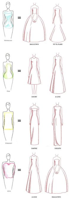 Wedding dresses illustrations, helpful to draw!!
