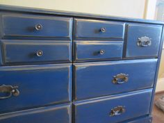 star-spangled, deep blue, royal blue, vibrant, bold, blue, distressed, painted furniture, painted dresser, upcycle, redo