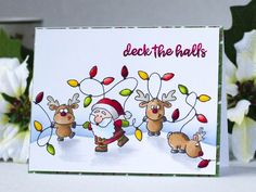 Guest Design – Build A Scene with Accessory Stamps with Ksenija Rizova Gerda Steiner Designs Reindeer And A Tree Christmas Doodles, Christmas Drawing, Diy Christmas Cards, Christmas Paintings, Handmade Christmas, Holiday Cards, Christmas Crafts, Winter Karten, Christmas Rock