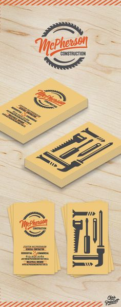 Business card design for McPherson Construction located in Belleville, ON, Canada. The logo has a retro style, script typeface and saw blade that surrounds. Business card utilizes simple tool icons on one side with an assortment of typography for the information portion. Designed by Milwaukee Branding Graphic Designer Chris Prescott. cprescott.com    #graphicdesignerchrisprescott