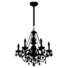 """Vinyl wall decal with a chandelier design.  Product: DecalConstruction Material: Vinyl Color: BlackFeatures:  Adheres to plaster, glass, tile, wood, plastic and other clean, grease-free surfacesEasy to apply and removeComes with squeegee for application Dimensions: 28"""" x 23""""Cleaning and Care: Wipe clean"""