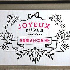 Carte postale joyeux anniversaire (noir et rose)