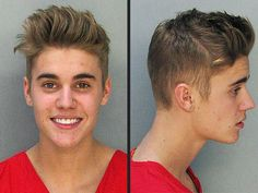 Colour inspiration: Bright red t-shirt Bieber was wearing when his mugshot was taken in January 2014.