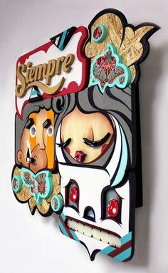 Alex Yanes es una artista de Miami. Su obra consiste en esculturas pop up, da profundidad a las ilustraciones superponiendo capas de madera.