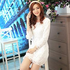 KY Casual Cut Out Lace Middle Sleeve Organza Dress(White) – USD $ 27.99