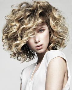 Medium Blonde wavy coloured multi-tonal messy womens hairstyles for women