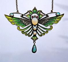 JUGENDSTIL Butterfly Pendant Silver Plique-à-jour enamel Opal Marks: Not known German, c.1900