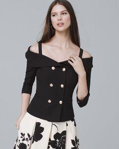 f89cf90b68 White House Black Market Petite Off-The-Shoulder Crop Blazer Jacket